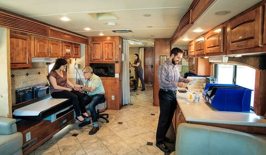 The mobile RV had patient beds along with medication and medical equipment to serve as a health-care clinic.
