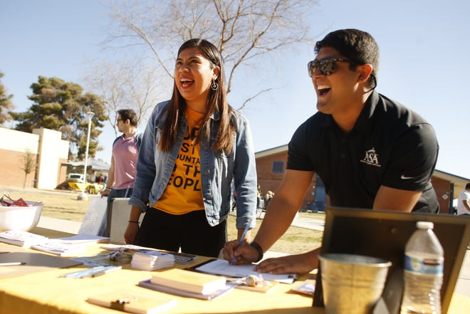Viri Hernandez, an activist pushing for police reforms, speaks to the crowd at the Poder in Action table at Carl Hayden Community High School in Phoenix on Feb. 8, 2020.
