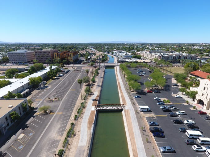 Aerial view of bridge constructed over Grand Canal multi-use trail system