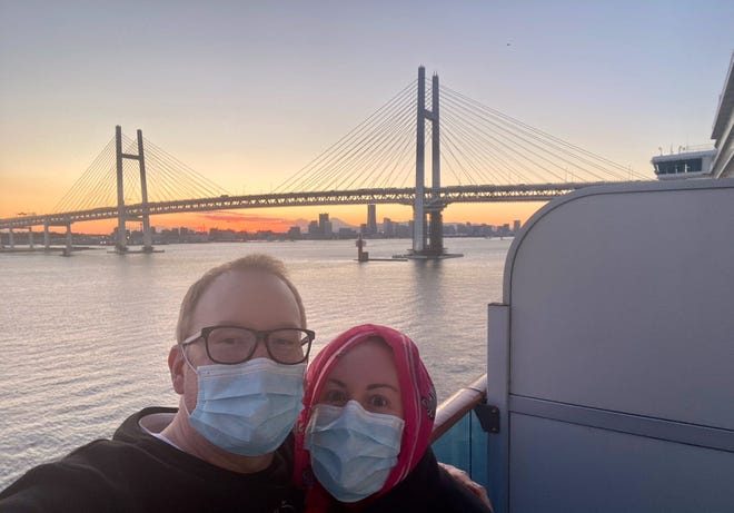 Scottsdale surgeon Dr. Sommer Gunia (right), with her husband, Steven Gunia, is stuck on a Princess cruise ship in Japan due to a quarantine for the new coronavirus outbreak.
