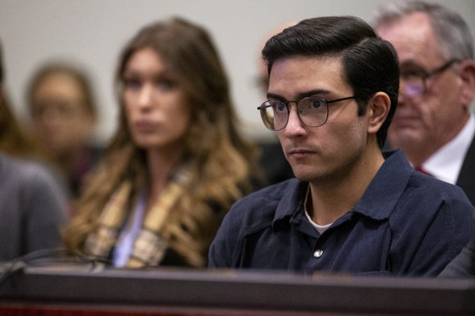 Steven Jones listens during his sentencing on Feb. 11, 2020, at Coconino County Superior Courthouse in Flagstaff. Jones pleaded guilty to manslaughter and aggravated assault in the 2015 shooting death of one Northern Arizona University student and the injury of three others. He was sentenced to six years in prison.