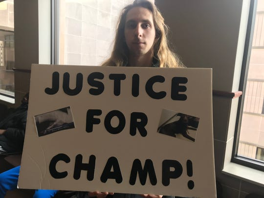 Nearly two dozen people crowded Ingham County Circuit Court Judge James Jamo's courtroom Feb. 12, 2019, for a sentencing hearing for the abuse of Champ, who was badly beaten by his owner.