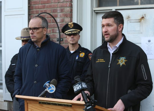 From left, Village of New Paltz Mayor Tim Rogers and Ulster County Executive Pat Ryan during a press conference about the water contamination issue on February 12, 2020.