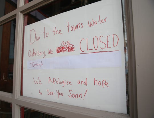 A sign at Pho Tibet indicating they closed due to the water contamination issues in the Village of New Paltz on February 12, 2020.