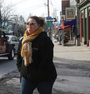 Emily Frankel, a New Paltz resident and restaurant worker walks along Main Street in the Village of New Paltz on February 12, 2020.