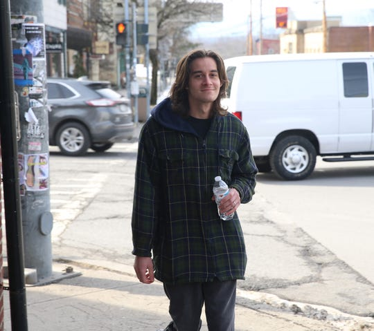 SUNY New Paltz student Anthony Hamilton shares his thoughts on the water contamination issue and closing of the school while on Main Street in the Village of New Paltz on February 12, 2020.