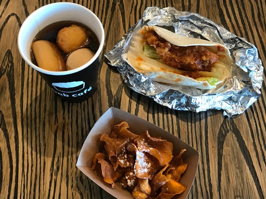 At Bab x Chicken in the Summit, small plates inspired by Korean street food include sweet potato chips, fish cake soup and a Korean fried chicken wrap.