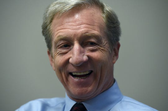 Democratic presidential candidate Tom Steyer talks with the RGJ on Feb. 12, 2020.