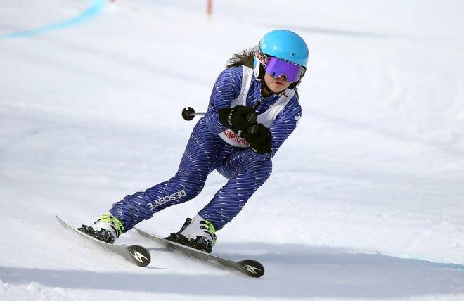 Monica Ramirez-Spear, of Sodus-Williamson during the Section V girl's alpine championship at Bristol Mountain.