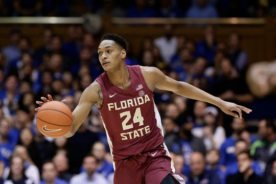 Florida State guard Devin Vassell (24) dribbles against Duke during the first half of an NCAA college basketball game in Durham, N.C., Monday, Feb. 10, 2020. Vassell is the top scorer for the Seminoles.