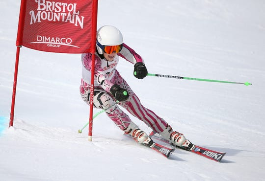 Pittsford's Sophie Brown during the Section V girls alpine championship at Bristol Mountain. Brown finished second to teammate Shannon Hughes in the giant slalom.