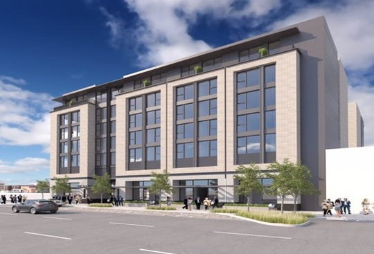 A rendering of the hotel being built on the former parking structure across the street from the Salem Convention Center.