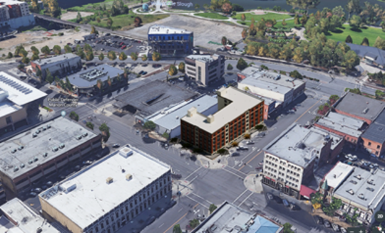 A rendering of the apartment complex at the former McMahan's Furniture site in downtown Salem.