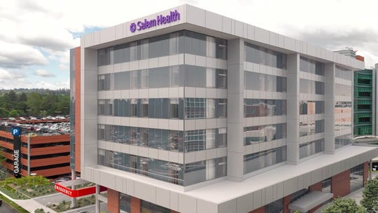 A rendering of the in-construction building at Salem Health, which is expected to be completed in 2022.