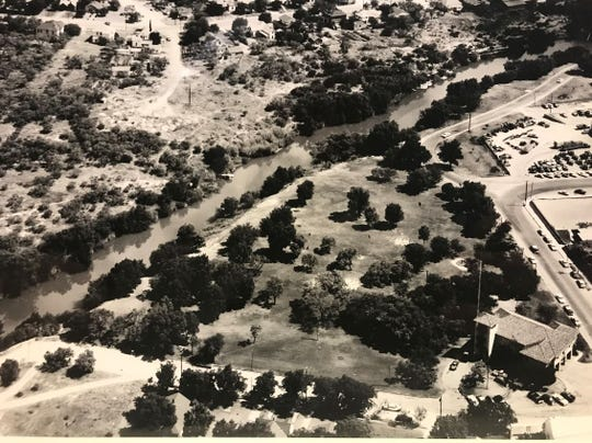 Now known as Firefighters' Memorial City Park,  this property along the Concho River was the first park in town, deeded to the city in 1904. The park is seen here from above in 1962.