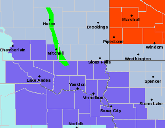 Much of the southeastern South Dakota remains under a winter weather advisory until 6 p.m. Wednesday.