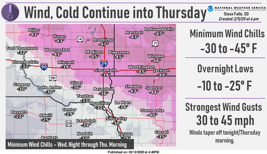 Windchills nearing 40 and 50 degrees below zero will sweep across eastern South Dakota Wednesday into Thursday, according to the National Weather Service in Sioux Falls.
