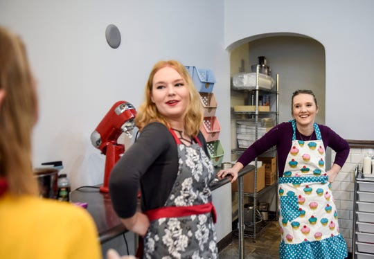 Dana Johnson and Nikki Wallenberg joke with their mom Val Johnson at their new bakery Twisted Sisters Sweetz on Wednesday, Feb. 12, 2020 on Phillips Avenue in downtown Sioux Falls, S.D. The family believes they each contribute their own strengths to the operation and are excited to open soon.