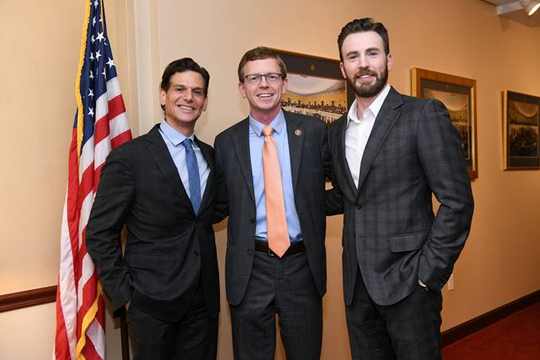 "Rep. Dusty Johnson meets with actor Chris Evans (right) and director Mark Kassen (left) for an interview regarding Evans' project, ""A Starting Point."""