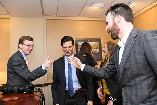 "Rep. Dusty Johnson meets with actor Chris Evans (right) and director Mark Kassen (middle) for an interview regarding Evans' project, ""A Starting Point."""