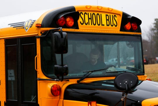 A school bus at Parkview High School on Wednesday.