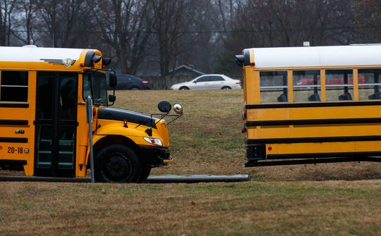 School buses at Parkview High School on Wednesday.