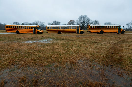 School buses at Parkview High School on Wednesday, Feb. 12, 2020
