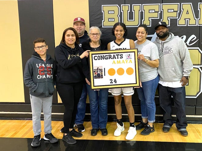 Amaya Lucas, seen here celebrating her 1,000th-career point last season, was named the Shenandoah District girls basketball player of the year this season.