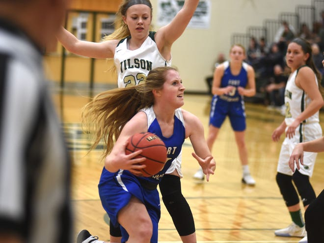 Fort Defiance's Bri Allen drives to the basketball against Fort Defiance Tuesday night in a Shenandoah District basketball game.