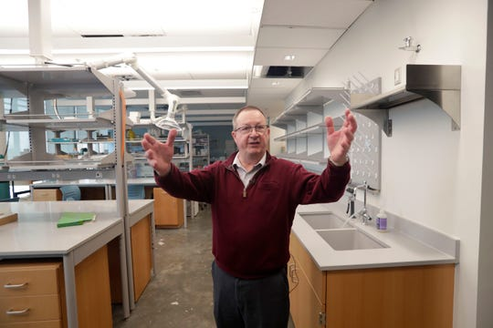 Vincent Salters, department chair of earth, ocean, atmospheric science at Florida State University, details the equipment available in one of the labs in the new Earth, Ocean, Atmospheric Science Building on Wednesday, Feb. 12, 2020.