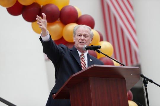 Florida State University President John Thrasher speaks during FSU Day at the Capitol Wednesday, Feb. 12, 2020.