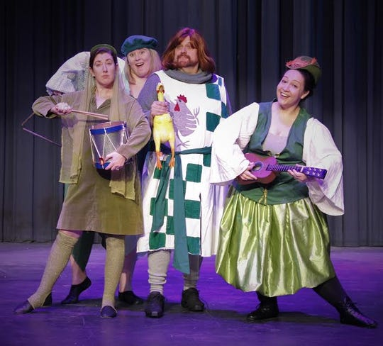 "Ken Lambert, Sir Robin, Sarah Matlow, Lauren Herod,  Shiloh Elliott in Quincy Music Theatre's production of ""Spamalot."""