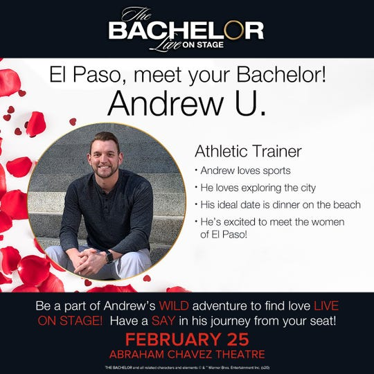 Andrew Ure, a trainer for the UTEP Men's basketball team, has been name the Bachelor for the live show that will staged Feb. 25 in El Paso.