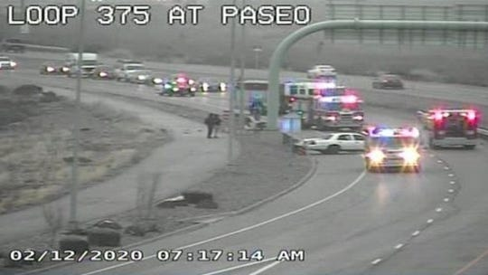 A firefighter was seriously injured Wednesday morning after being struck by a vehicle while at an accident scene on Trans Mountain Roadin West El Paso.