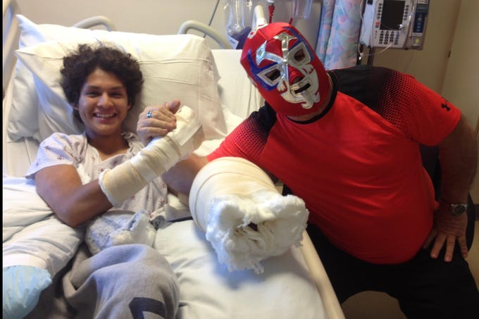 Nordhoff assistant coach Paul Clementi wore a Mexican wrestler outfit when he visited senior Armando Gomez in the hospital after Gomez required 17 hours of surgeries on his hands.