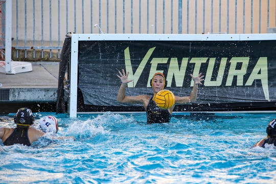 GoalieLindsey McDermott makes a stop during Ventura's 5-3 win over Westlakein a CIF-SS Division 4 first-round game Tuesday.