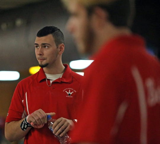 North Rockland's Nick Varano watches his teammates during Section 1 boys bowling championships at Fishkill Bowl on Feb. 11, 2020. North Rockland won large school and Woodlands won small school Section 1 boys bowling.