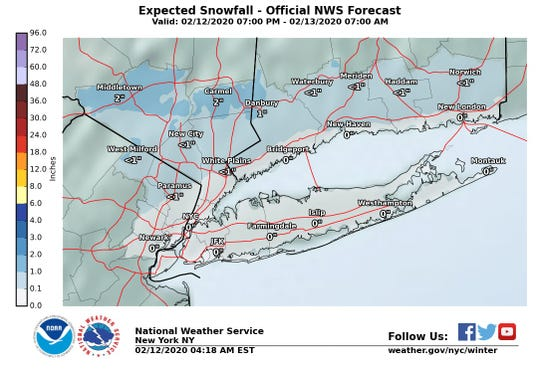 A mix of rain, snow and sleet could hit the Lower Hudson Valley on Wednesday night.
