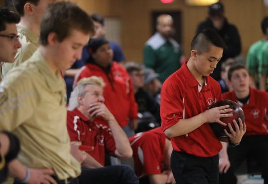 North Rockland's Dylan Bulusan prepares to bowl during the sixth final game of Section 1 boys bowling championships at Fishkill Bowl on Feb. 11, 2020. North Rockland won large school and Woodlands won small school Section 1 boys bowling.