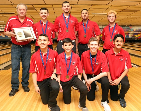 North Rockland wins large school during Section 1 boys bowling championships at Fishkill Bowl on Feb. 11, 2020.  Woodlands won small school Section 1 boys bowling.