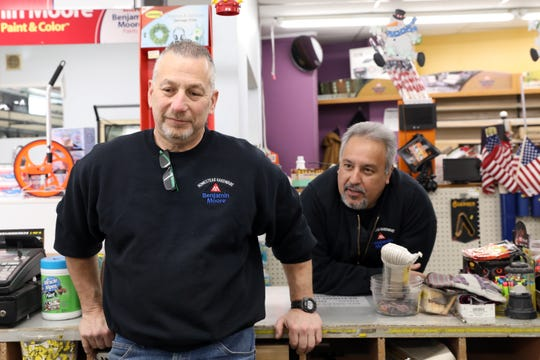 Brad Stern, left, and Dominic Sainato, who have owned Homestead Hardware for the past seven years, talk about closing the Stony Point business, Feb. 12, 2020. The shop will close February 21st after 50 years in business.