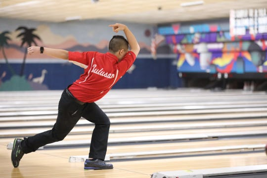 North Rockland's Dylan Bulusan bowls during Section 1 boys bowling championships at Fishkill Bowl on Feb. 11, 2020. North Rockland won large school and Woodlands won small school Section 1 boys bowling.