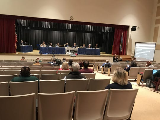 Christina School District board during a public meeting at Gauger-Cobbs Middle School on February 11th, 2020.