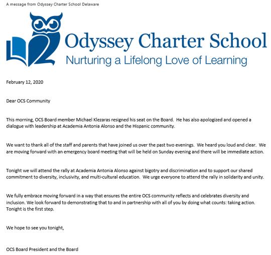 Odyssey resignation email