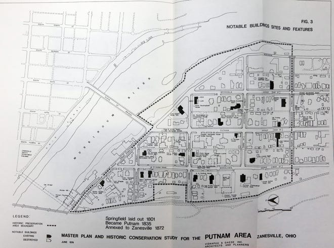 """A map page from the 1974 study titled """"A Master Plan and Historic Conservation Study for the Putnam Area."""" The City of Zanesville hopes to update the plan with a grant from the Ohio History Connection."""