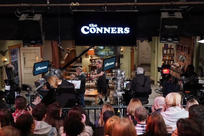 """""""The Conners"""" episode titled """"Live from Lanford"""" was filmed in front of a live audience during news reporting on the New Hampshire primaries."""