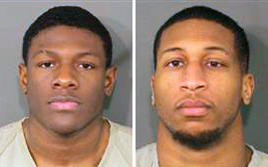 Jahsen Wint, left, and Amir Riep, Ohio State University football players, are charged with rape and kidnapping.