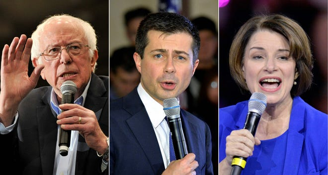 Bernie Sanders, Pete Buttigieg and Amy Klobuchar, the top three finishers in the New Hampshire primary, at February events in Durham, Merrimack and Manchester, respectively.