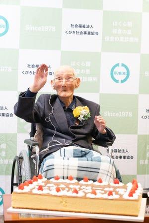 Chitetsu Watanabe, 112, in Niigata, Japan.