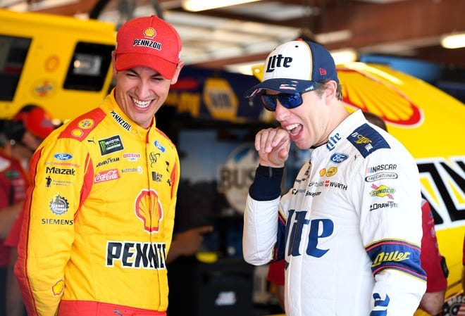 Brad Keselowski, right, and Joey Logano, seemed to have settled their differences after a testy conclusion to the 2020 Busch Clash at Daytona.